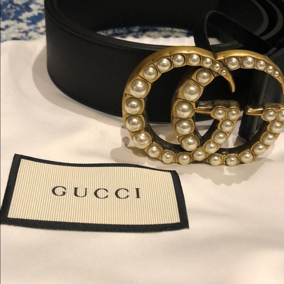 67f27acf760 Gucci marmont double g pearl wide belt